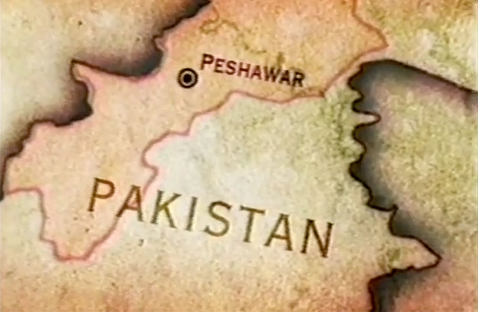 Simple map of Pakistan with location of Peshawar