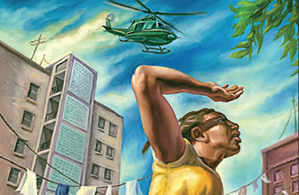 Illustration of woman with military helicopter over head