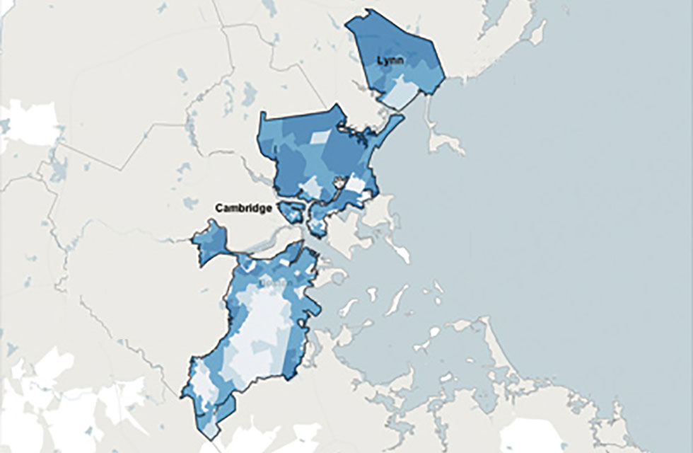 Map Boston area