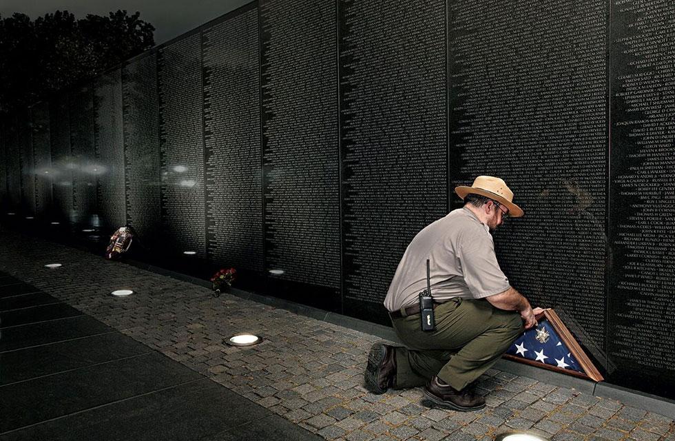 National park ranger at Vietnam Veteran's Memorial