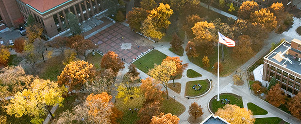 Aerial view of University of Michigan diag