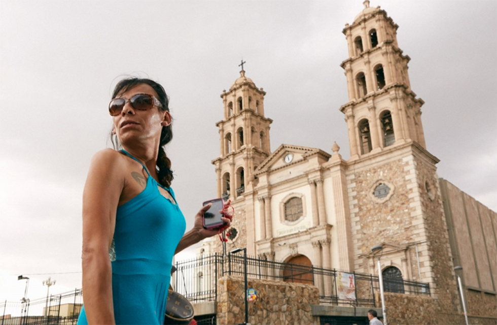 Ciudad Juárez, Mexico, Claudia Delfin visits the city's main cathedral