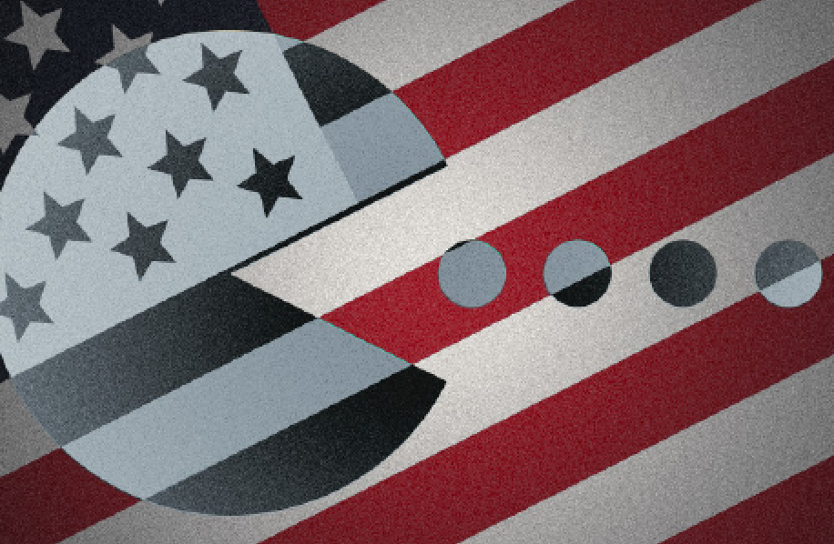 illustration american flag with pac man graphic