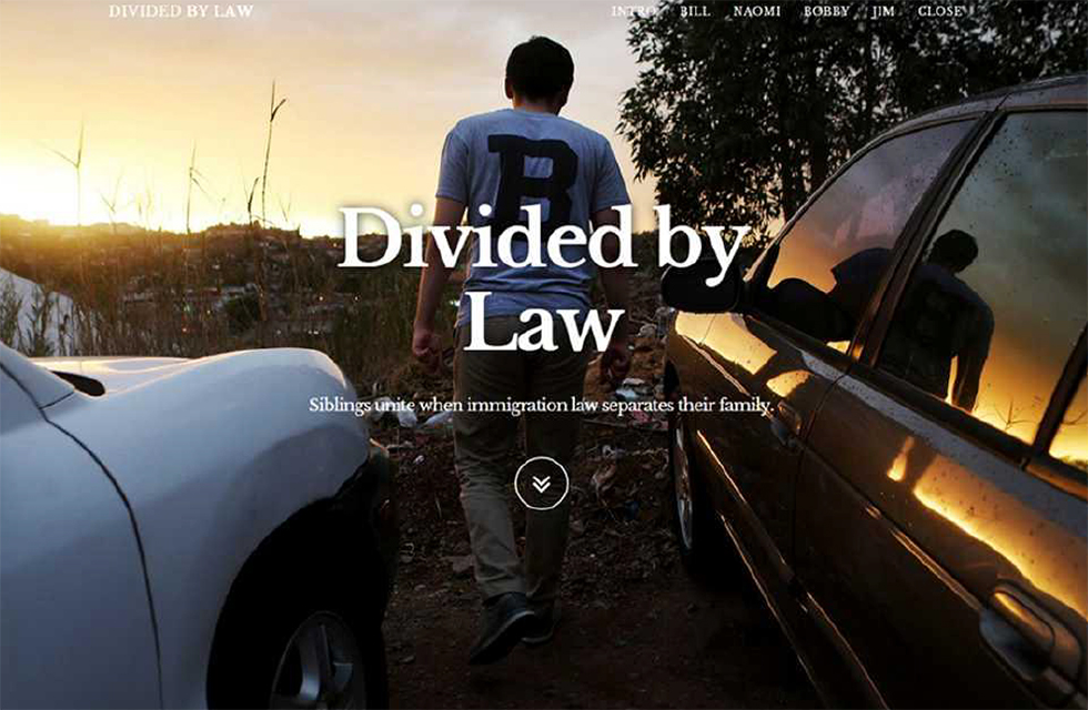 Divided by Law: Siblings unite when immigration law separates their family, image of boy walking between two cars