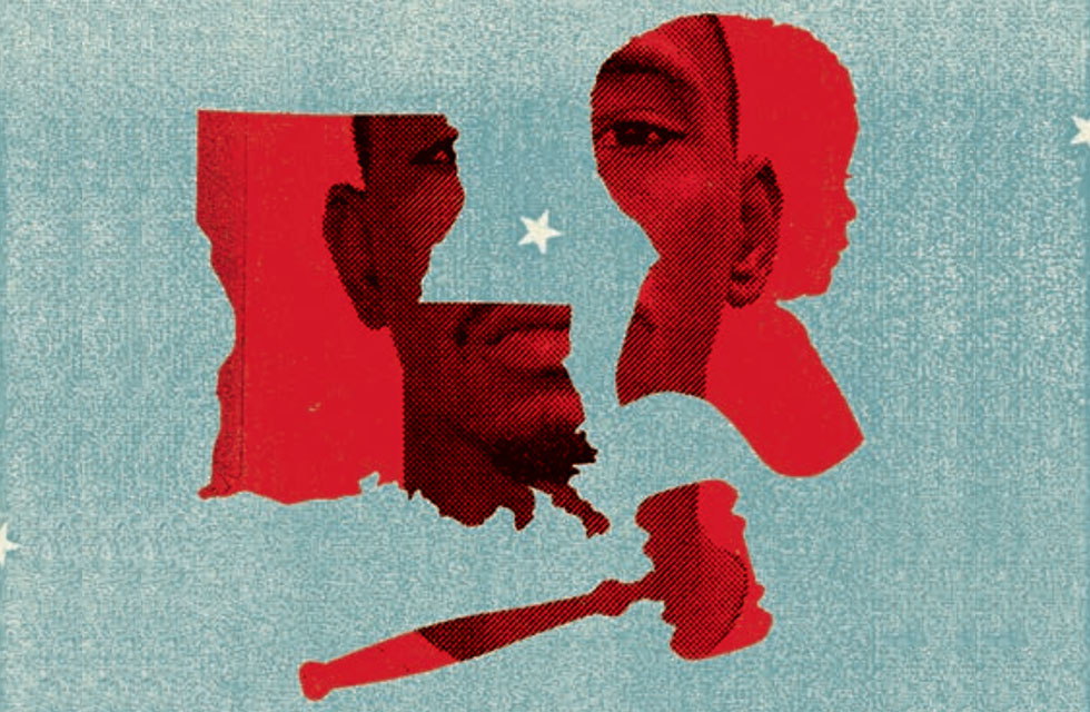 illustration: state of Louisiana, gavel, African American child, African American man